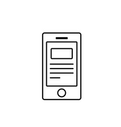 line smartphone with business digital document vector image vector image