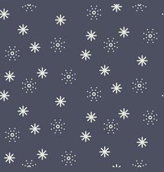 seamless snowflake pattern in dark blue vector image