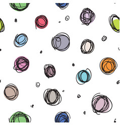 sloppy circles random doodle dots seamless pattern vector image vector image