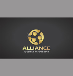 three people gold alliance concept of vip vector image