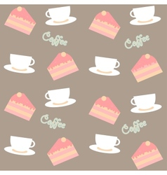 background with cakes and coffee cups vector image vector image