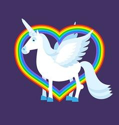 Blue unicorn rainbow heart Rainbow LGBT sign vector image