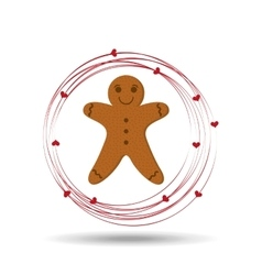 gingerman cookie cartoon happy and hearts vector image