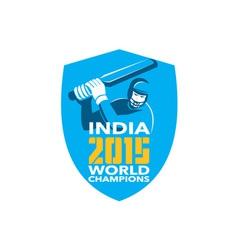 India Cricket 2015 World Champions Shield vector image