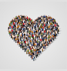 Large group of people in the heart sign shap vector