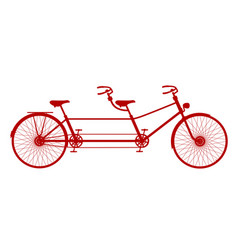 retro tandem bicycle in red design vector image