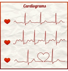 Set of cardiograms vector image vector image