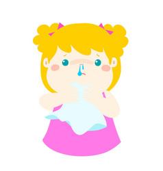 sick girl runny nose vector image