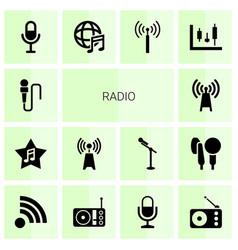 14 radio icons vector image