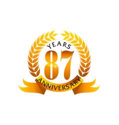 87 years ribbon anniversary vector