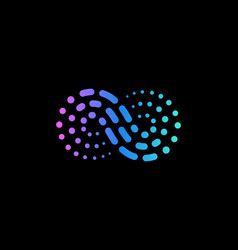 abstract wave from dots and lines logo vector image