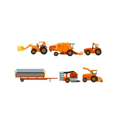 Agricultural machinery set industrial farm vector