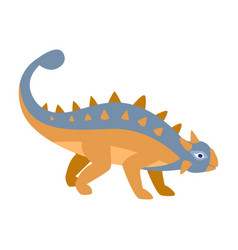 Ankylosaurus blue and orange dinosaur of jurassic vector