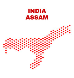assam state map - mosaic of heart hearts vector image