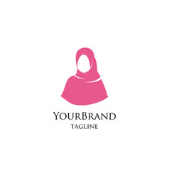 beautiful fashion hijab logo template vector image