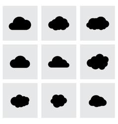 black cloud icon set vector image