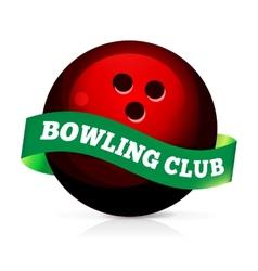 Bowling ball with ribbon vector image