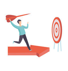businessman running along red arrow graph to vector image