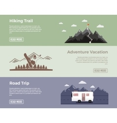 Camping flat banners set Adventure hiking vector