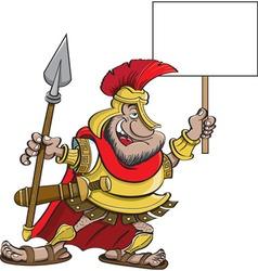 Cartoon Spartan Holding a Sign vector image