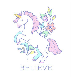 cartoon unicorn emblem vector image