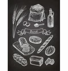 Chalk sketch of breads vector