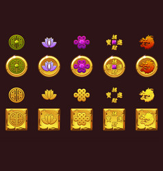 China coins set golden icons with chinese vector