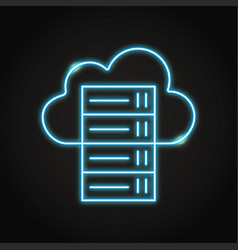 Cloud hosting icon in neon line style vector