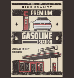 Colored fuel station poster vector