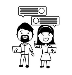 couple with smartphone and speech bubble vector image