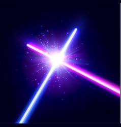 crossing laser saber war two neon swords vector image