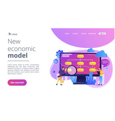 Data driven business model concept landing page vector