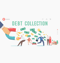 Debt collection landing page template huge hand vector