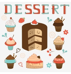 dessert menu collection vector image vector image