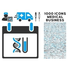 DNA Analysis Calendar Day Icon With 1000 Medical vector