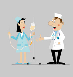 doctor and the nurse character vector image