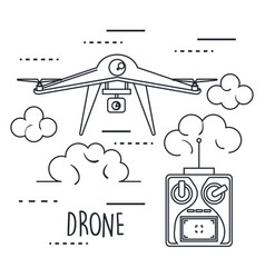 Drone with remote control technology icon vector