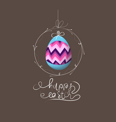 easter eggs label card vector image