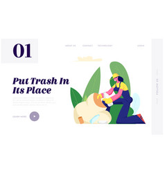 Ecology protection volunteer woman trash vector