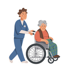 Elderly woman in wheelchair and male nurse on vector