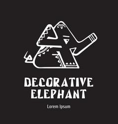 elephant decorative - emblem design logo vector image
