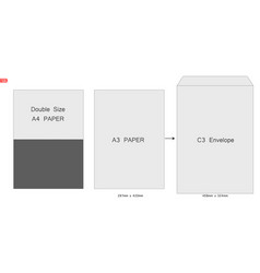 envelope c3 blank white mockup open envelope the vector image