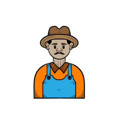 farmer hand drawn design template isolated vector image