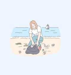 female volunteer cleaning beach save planet and vector image