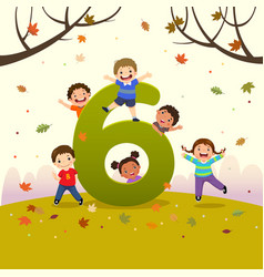 flashcard for learning to counting number 6 vector image
