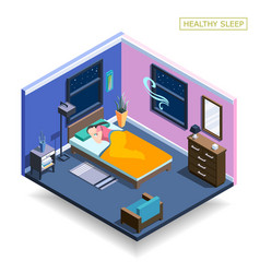 Full sleep isometric composition vector