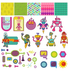 Funny Robots Theme - Scrapbook Design Elements vector image