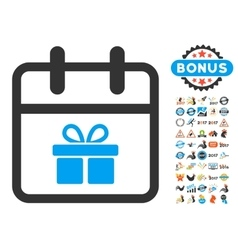 Gift Day Flat Icon with 2017 Year Bonus vector image