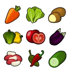 Glossy vegetable set vector image