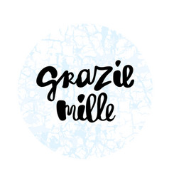 Grazie mille hand lettering phrase vector